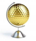 gold golf ball sign