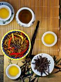 stock photo of sob  - buckwheat Japanese noodles of a sob with vegetables and green tea - JPG