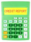 Calculator With Credit Report On Display Isolated