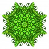 Green abstract round pattern, Circular ornament design element, Vector isolated