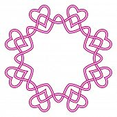 Round frame pink ribbon, Circular ornament design element, Vector