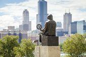 Mikolaj Kopernik Admiring Panorama Of Chicago.