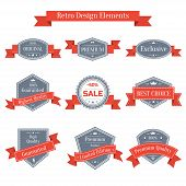 Vector vintage set of labels with ribbons