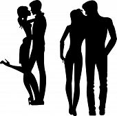 silhouette of man and woman embracing