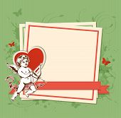 Green Background With Cupid