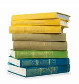 Stack Of Colorful Vintage Book On White Isolation
