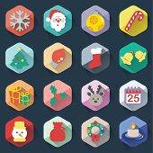 foto of winterberry  - Christmas Flat Icons Set isolated on background - JPG