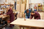 image of carpentry  - Staff Working In Busy Carpentry Workshop - JPG
