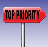 stock photo of priorities  - top priority important road sign arrow very high urgency info lost importance crucial information highest importance  - JPG