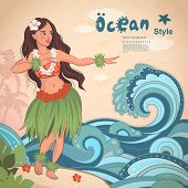 picture of hawaiian girl  - Vector Retro style Hawaiian beautiful hula girl - JPG