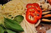 Asian noodles, vegetable, mushroom for hotpot