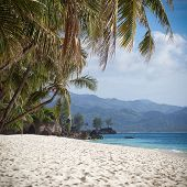 stock photo of boracay  - Tropical beach with beautiful palms and white sand Philippines Boracay Island  - JPG