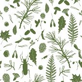 picture of cone  - vector seamless pattern with ink drawing forest objects - JPG