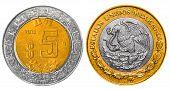 foto of pesos  - 5 Mexican Pesos back and front close up - JPG