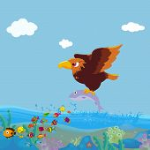 picture of fish-eagle  - Eagle Bird of prey fishing  over sea for design - JPG