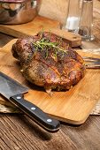 picture of duck breast  - Roasted duck breast on a wooden chopping board - JPG