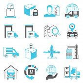 image of logistics  - set of 16 logistics and shipping icons - JPG