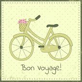 pic of bon voyage  - Greeting card template with bike illustration and  - JPG