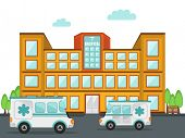 picture of ambulance  - Front view of a big hospital building with two ambulance standing outside - JPG