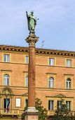picture of domination  - statue and column of Saint Dominic near Basilica of San Domenico Bologna Italy - JPG