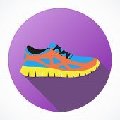 stock photo of shoes colorful  - Shoes flat icon with bright colorful running sneakers - JPG