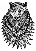 image of silkscreening  - Grunge sketch of an abstract wolf hand drawn illustration - JPG