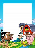 stock photo of farm animals  - Frame with barn and farm animals  - JPG