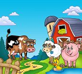 image of farm animals  - Red barn with farm animals  - JPG