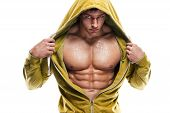 picture of abs  - Strong Athletic Man Fitness Model Torso showing six pack abs - JPG