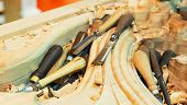 stock photo of woodcarving  - The carving tools with billets - JPG