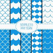 foto of marines  - Set of seamless retro vintage blue marine geometric line pattern - JPG