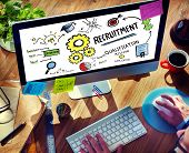 stock photo of recruiting  - Businessman Recruitment Digital Devices Searching Concept - JPG