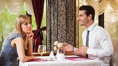 stock photo of boredom  - Woman is getting bored on first date  - JPG