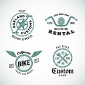 image of pedal  - Set of Vector Retro Bicycle Custom Labels or Logos Isolated - JPG