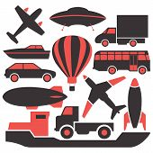 foto of air transport  - Set of colored icons of transport air and land sea vector illustration - JPG