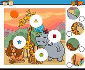 stock photo of brain teaser  - Cartoon Illustration of Match the Pieces Educational Game for Preschool Children - JPG