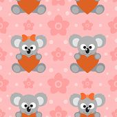 picture of koalas  - Happy holiday Seamless background with funny koalas - JPG