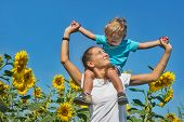 pic of mums  - Small son with mum among sunflowers against blue sky - JPG