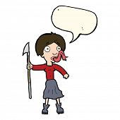 stock photo of spears  - cartoon woman with spear sticking out tongue with speech bubble - JPG