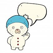 pic of crazy hat  - cartoon waving polar teddy bear in winter hat with speech bubble - JPG