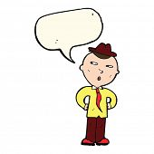stock photo of crazy hat  - cartoon man wearing hat with speech bubble - JPG