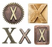 foto of letter x  - Alphabet made of wood and metal - JPG
