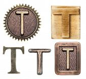 stock photo of letter t  - Alphabet made of wood and metal - JPG