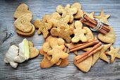 pic of ginger man  - Gingerbread cookies in shapes of heart - JPG