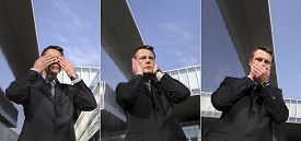 foto of evil  - business man see no evil hear no evil speak no evil three monkeys concept - JPG