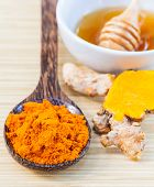 Natural Spa Ingredients . - Turmeric And Honey  For Skin Care. poster