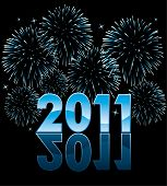pic of new years celebration  - vector new year 2011 numbers with fireworks - JPG