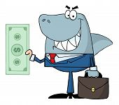 stock photo of loan-shark  - Smiling shark and bag with money in hand - JPG