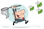 stock photo of chase  - Cartoon Character Happy Businessman Chasing Flying Money - JPG