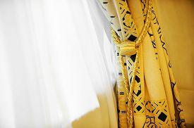 pic of tassels  - Luxury yellow window curtain with decorative tassel - JPG